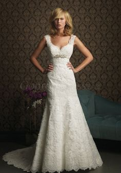 Graceful lace straps Empire crystal chapel train wedding dress - gopromdres.com