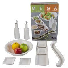 9 Piece Salad Serving Set - White