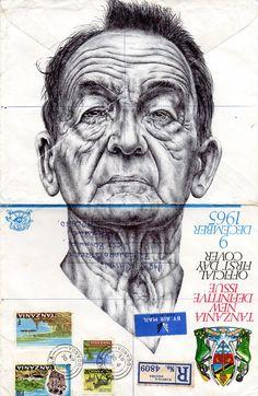 Mark Powell illustration- Bic Biro drawing on 1965 envelope. Illustrations, Illustration Art, Drawing Sketches, Art Drawings, Sketching, Mark Powell, Ballpoint Pen Drawing, Envelope Art, A Level Art