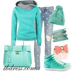 That is such a good outfit for the winter! Super cute! The turtle neck is super cute! The jeans are so cute with the white spots! The turquoise shoes, hats, bracelets, turtle neck, and purse is awesome!