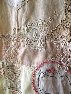 Lace patchwork - This idea would look nice on a memory quilt with old photos, alternating photos and lace, and leaving the blocks between them for quilting. It would make a great gift for mom and dad.******curtain for sewing room Crazy Quilting, Patchwork Quilting, Quilting Ideas, Quilting Templates, Antique Lace, Vintage Lace, Vintage Sewing, Fabric Art, Fabric Crafts
