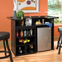 Images of American Heritage Trenton Fridge Bar Set Finished in Black, With Open Shelving and a Wine Cooler Bay and Two Designer Backless Stools Finished in Black with Black Vinyl Home Bar Furniture, Furniture Deals, Furniture Showroom, Pallet Furniture, Home Bar Cabinet, Liquor Cabinet, Dining Room Bar, Best Dining, Wooden Bar