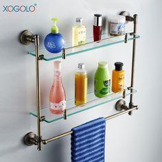 Купить товарXogolo бронза двойной туалет ванной полки с полотенцем стойку полка ванной 58224 в категории Полки для ваннойна AliExpress.