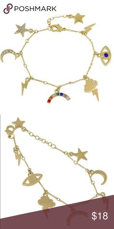 Enchanting charm bracelet⭐️ Back in stock! ⭐️5 STAR RATED⭐️Moons, stars, rainbows, lightening bolts, an eye--everything you ever wanted on a charm bracelet! This is totally unicorn vibes going on here. Cute cute rhinestone accents and lobster clasp closure. Price: firm! Inspired by Urban Outfitters ✨⚡️ Jewelry Bracelets