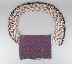 Young maiden's beaded puberty apron with fringed belt. African Beads, African Art, Beadwork, Beading, Xhosa, Museum Collection, British Museum, Bead Weaving, Aprons