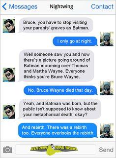 Nightwing and Batman Lol Marvel Funny, Marvel Dc Comics, Funny Comics, Batman And Superman, Batman Robin, Robin Superhero, Comic Book Heroes, Comic Books, Superhero Texts