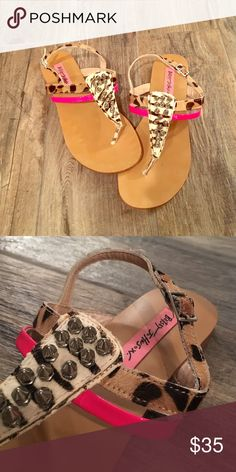 Betsey Johnson leopard and studded sandals Edgy meets flirty with these adorable Betsey Johnson sandals. They've got a little bit of everything studs, hot pink, calf hair leopard and zebra print! Perfect for spring and summer!!! Gently worn. Betsey Johnson Shoes Sandals