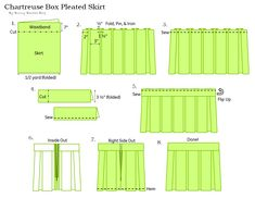 Chartreuse Pleated Skirt Sewing Tutorial I've been color obsessing this Spring. Anything in pink or chartreuse has been calling out to me like an adorable little puppy telling me to buy it. Pleated Skirt Tutorial, Pleated Skirt Pattern, Box Pleated Dress, Knife Pleated Skirt, Box Pleat Skirt, Skirt Patterns Sewing, Box Pleats, Skirt Sewing, Coat Patterns