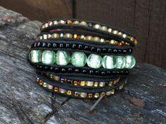 Sea Foam India Glass Wrap Bracelet by salmoninthebeak on Etsy, $65.00