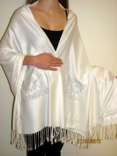 This Ivory White Designer Crystal Shawl Wrap Beauty is a Pashmina Silk original beauty with Swarovsky Crystals. Designed & made by our amazing CT artist - this designer evening ivory white with silvery touch wrap shawl is a hot favorite. Prod no. 6422