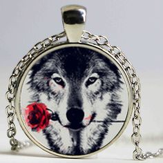 2017 New Wolf with Flower Necklace Black Wolf Pendant Jewelry Personalized Picture Necklace HZ1 #Affiliate