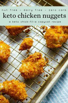 Aug 2019 - Zero carb keto chicken nuggets are grain free and nut free. A keto Chick-Fil-A copycat chicken nugget perfect with sugar free keto Chick-Fil-A sauce. Low Carb Keto, Low Carb Recipes, Diet Recipes, Healthy Recipes, Healthy Fats, Low Carb Chicken Recipes, Spinach Recipes, Ketogenic Recipes, Clean Recipes