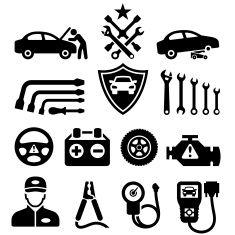 Car Repair black & white royalty free vector icon set vector art illustration