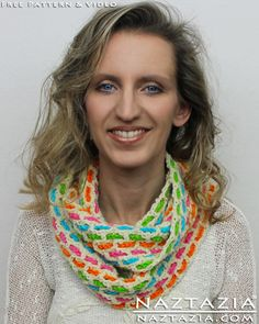 DIY Free Pattern and YouTube Video Tutorial Crochet Woven Mesh Infinity or Straight Scarf (Chain Weaved Weave) by Donna Wolfe from Naztazia