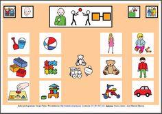 MATERIALES - Tableros de Comunicación de 12 casillas.    Tablero de comunicación de doce casillas sobre juguetes.    http://arasaac.org/materiales.php?id_material=224