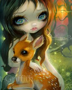 Brother and Sister - fairytale deer painting - Jasmine Becket-Griffith fawn deer fairy tale oracle deck