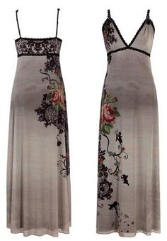 Michal Negrin Evening Empire Dress made of Gray Chiffon Lycra with V-Neck, Spaghetti Straps, Lace Trim, Swarovski Crystals and VIntage Flower Motif on the Side - Size L Michal Negrin,http://www.amazon.com/dp/B0085XX28G/ref=cm_sw_r_pi_dp_G1aDrb8229A54786