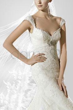 Spitze Spitze Empire Taille Meerjungfrau Herz-Ausschnitt volle länge glamouröses & dramatisches Brautkleid
