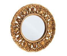 Espejo de pared de resina y cristal, dorado - Ø35 cm