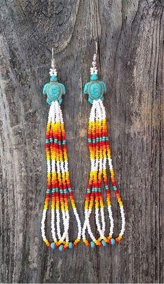 Beaded Earrings Native, Beaded Earrings Patterns, Beading Patterns Free, Seed Bead Patterns, Seed Bead Earrings, Jewelry Patterns, Beaded Jewelry, Jewellery, Fringe Earrings