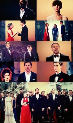 Les Mis Oscars performance collage