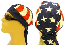 American Flag Patriotic Headwrap Doo Rag Stars and Stripes Durag Skull Cap Cotton Sporty Motorcycle Hat