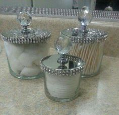 to & Diy creative projects Diy. reuse bath and body works candle jars. Glam them up by simply adding bling on a roll and cabinet knobs. reuse bath and body works candle jars. Glam them up by simply adding bling on a roll and cabinet knobs. Home Crafts, Diy Home Decor, Diy Crafts, Mason Jar Crafts, Mason Jars, Apothecary Jars, Bath And Body Works, Glass Jars, Dollar Stores