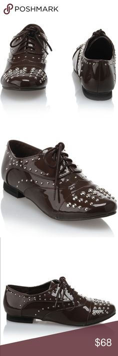 Dolls Kill Rhinestone Studded Oxfords Make a statement in these oxfords embellished with glittering studs. SUPER SHINY patent leather. Very dark chocolate brown almost black! 100% Patent Leather. Cap Toe. Lace Up. Dolls Kill Shoes Flats & Loafers