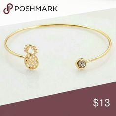 New cuff bracelet pineapple gold bangle cz kawaii Pineapple cuff bracelet gold crystal open bangle New never worn Cute hipster pineapple cuff bracelet Gold tone with a crystal Jewelry Bracelets