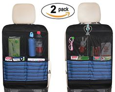 """Kick Mat Seat Back Protectors with 4 Large Organizer Pockets Seat Covers For Car BackSeat, 2 Pack (Black)  Pack 2, extra large size for maxium coverage car kick mats: 18 1/2"""" wide by 26 1/3"""" length, the oversize can protect the whole back of seat, fits most minivan, SUV and sedan seats;  No flopping or wrinkles: corners are reinforced by 4 hard PP Sheets and won't fold down like in other covers, also the back seat protector is made of durable & environment-friendly materials and to ens..."""