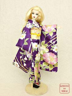 Free shipping! Japanese KIMONO dress,Barbie,Poppy Parker,FR NIPPON Purple gold #KIMONOnoMIRAI