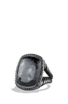 David Yurman 'Albion' Ring with Gray Orchid and Black Diamonds