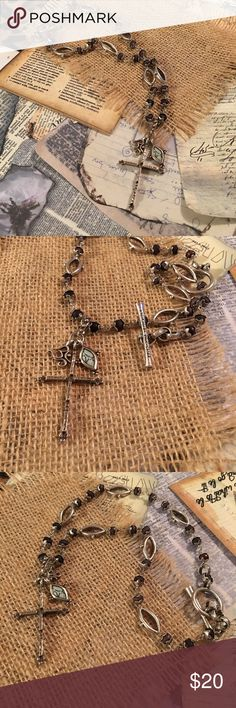 """Lucky Brand Cross Necklace Great Lucky Brand style with black and silver beads. Great quality. Shows very little wear. 17-1/2"""" Lucky Brand Jewelry Necklaces"""