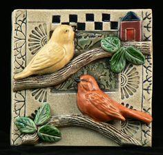 Ceramic Tile Two Birds by tilebyfire on Etsy, $75.00