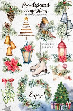 I am glad to present you my new watercolor collection «Christmas traditions Watercolor Christmas Cards, Christmas Drawing, Christmas Paintings, Christmas Design, Christmas Art, Vintage Christmas, Xmas, Christmas Patterns, Watercolor Clipart