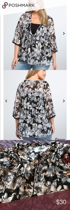 Torrid Floral Babydoll Size 2 Love this!! Gray, black, and white floral babydoll. Brand new with tags. Perfect for spring! torrid Tops Blouses