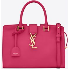 Saint Laurent Baby Cabas Ysl Bag ($1,905) ❤ liked on Polyvore featuring bags, handbags, shoulder bags, pink handbags, yves saint laurent, leather shoulder handbags, real leather purses and yves saint laurent purse