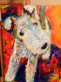 Wire Fox Terrier painting - Fauve style, by Margaret Schwartz.