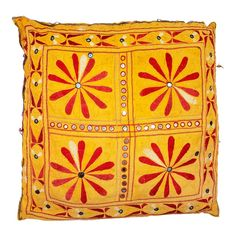Vintage Large Indian Red Flower Embroidery & Mirrored Decorative Pillow Cover