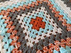 Crochet Baby Blanket - Granny Square Burnt Orange, Aqua Blue, Smoky Gray, Afghan on Etsy, $45.00