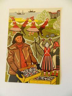 Unused vintage postcard from 60s - Saaremaa (Ösel)  - made in Estonia - greeting card - Fisherman - Etnic