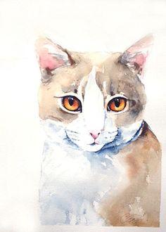 Custom cat portrait, custom pet portrait in watercolor, original watercolor painting, dog or cat painting, handmade gift/present. on Etsy, $66.60