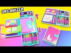 🥇 DIY FOLDER ORGANIZER for back to school ✅ Your notebook and school supplies at same place. Discover the secret compartment 🌵🌵🌵🦙 Diy Arts And Crafts, Crafts For Kids, Paper Crafts, Diy Crafts, Folder Diy, Art Folder, Folder Organization, Diy Organization, Diy Organizer