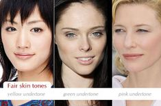 Make up charts: Determining your skin tone and Fair. Pale skin that tans lightly and looks quite natural with small amount of bronzing. Fair skin tone has yellow, green or pink undertones, for example, Cate Blanchette, Haruka Ayase, Coco Rocha. green likely neutral
