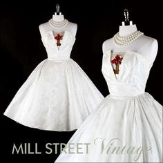Vtg 50s White Brocade Floral Wedding Party Prom Dress S