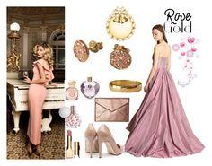 """Rose gold."" by stavrosdragatakis ❤ liked on Polyvore featuring Oscar de la Renta, Rupert Sanderson, Rebecca Minkoff, Tory Burch, Vera Wang, Clarins, rosegold and dragatakisjewelry"