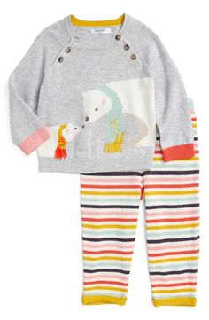 Mini Boden Intarsia Knit Sweater & Pants (Baby Girls)