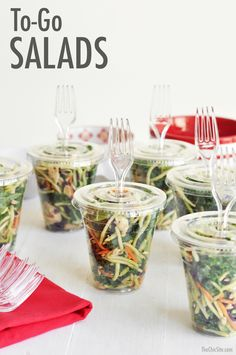 Great idea. Make a giant salad and store in to-go cups. Easy, fast, tasty.