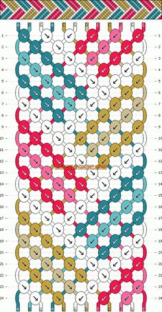 chevrons geometric stripe basketweave friendship bracelet pattern - seven 7 color DIY