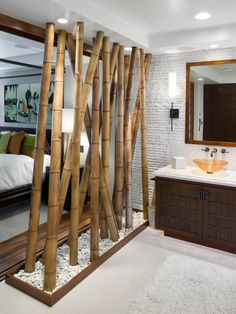 A bamboo-lined wall adds to the Asian-inspired theme of the bathroom.